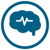 Brain with brainwave icon