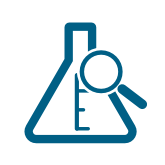 Beaker icon with magnifying glass