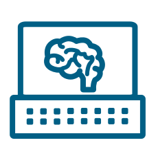 Computer with brain on screen icon