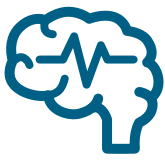 Brain with brain wave icon