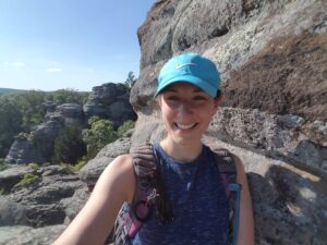 Resident Anja Srienc hiking in Shawnee National Forest in Southern Illinois