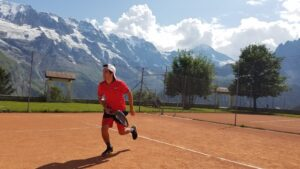 Ismael Seáñez, PhD, assistant professor, Biomedical Engineering & Neurosurgery, playing tennis in Wengen, Switzerland.