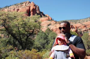 Brenton Pennicooke, MD, hiking in Sedona, AZ, with his baby Amelia.