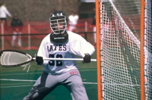 Pediatric neurosurgeon Jennifer Strahle, MD, plays lacrosse as a student at Bates College.